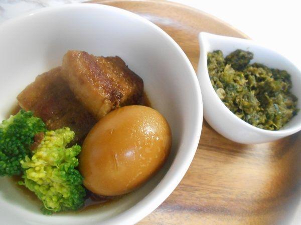 豚の角煮ふき味噌添え