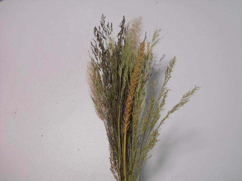 雑草のドライをスワッグの形を作る